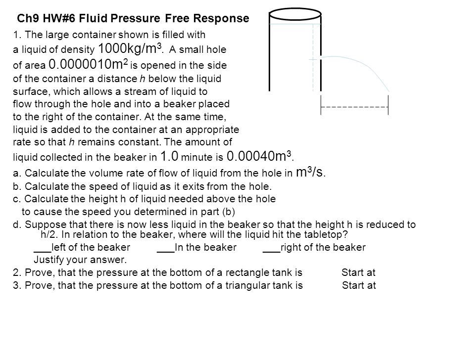 Ch9 HW#6 Fluid Pressure Free Response 1. The large container shown is filled with a liquid of density 1000kg/m 3. A small hole of area 0.0000010m 2 is