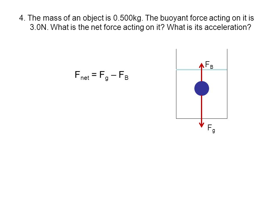 4. The mass of an object is 0.500kg. The buoyant force acting on it is 3.0N. What is the net force acting on it? What is its acceleration? F B F net =