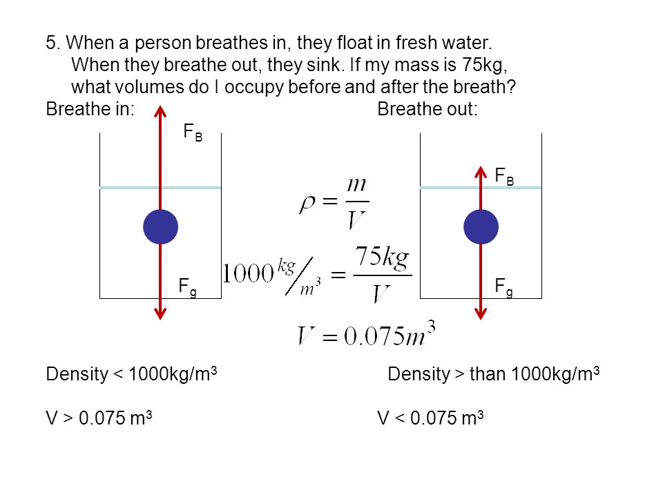 5. When a person breathes in, they float in fresh water. When they breathe out, they sink. If my mass is 75kg, what volumes do I occupy before and aft