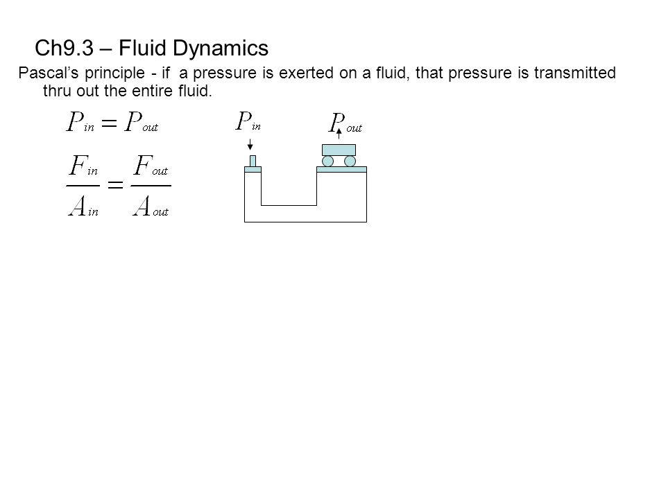 Ch9.3 – Fluid Dynamics Pascal's principle - if a pressure is exerted on a fluid, that pressure is transmitted thru out the entire fluid.