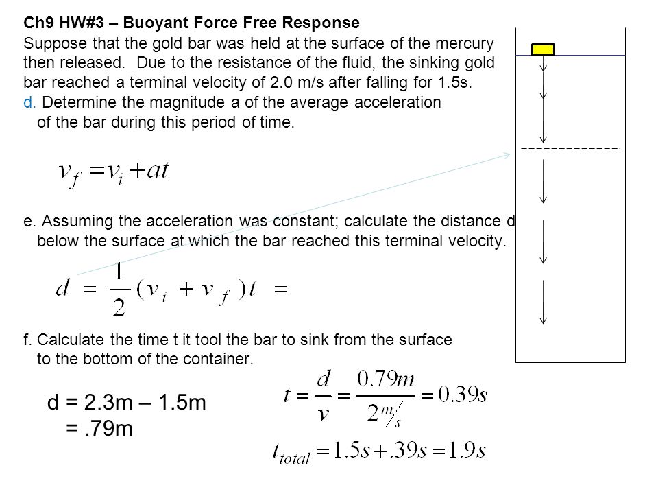 Ch9 HW#3 – Buoyant Force Free Response Suppose that the gold bar was held at the surface of the mercury then released. Due to the resistance of the fl