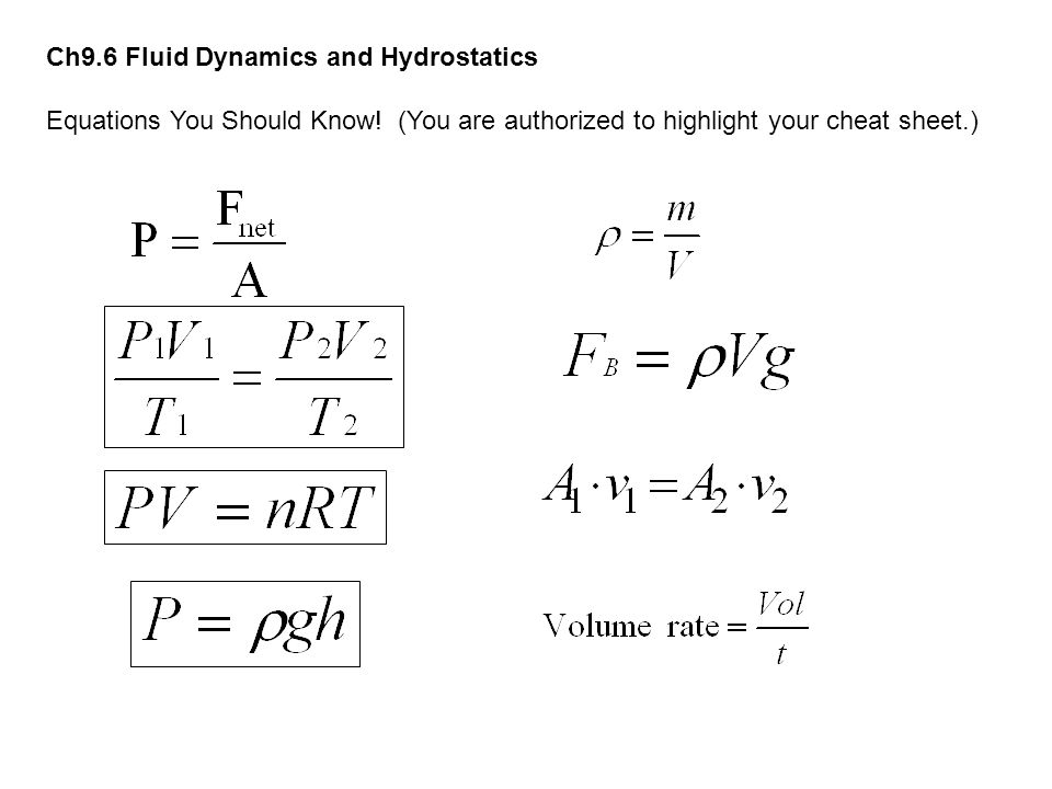 Ch9.6 Fluid Dynamics and Hydrostatics Equations You Should Know! (You are authorized to highlight your cheat sheet.)