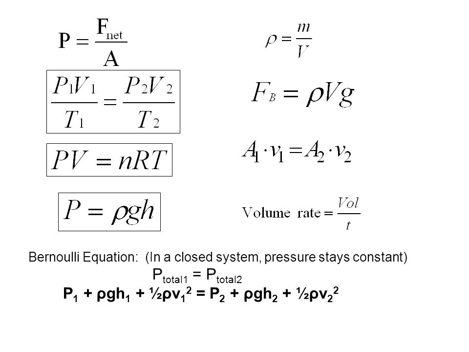 Bernoulli Equation: (In a closed system, pressure stays constant) P total1 = P total2 P 1 + ρgh 1 + ½ρv 1 2 = P 2 + ρgh 2 + ½ρv 2 2