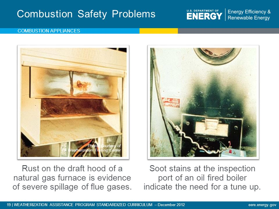19 | WEATHERIZATION ASSISTANCE PROGRAM STANDARDIZED CURRICULUM – December 2012eere.energy.gov Rust on the draft hood of a natural gas furnace is evide