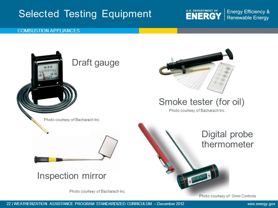 22 | WEATHERIZATION ASSISTANCE PROGRAM STANDARDIZED CURRICULUM – December 2012eere.energy.gov Draft gauge Smoke tester (for oil) Selected Testing Equi