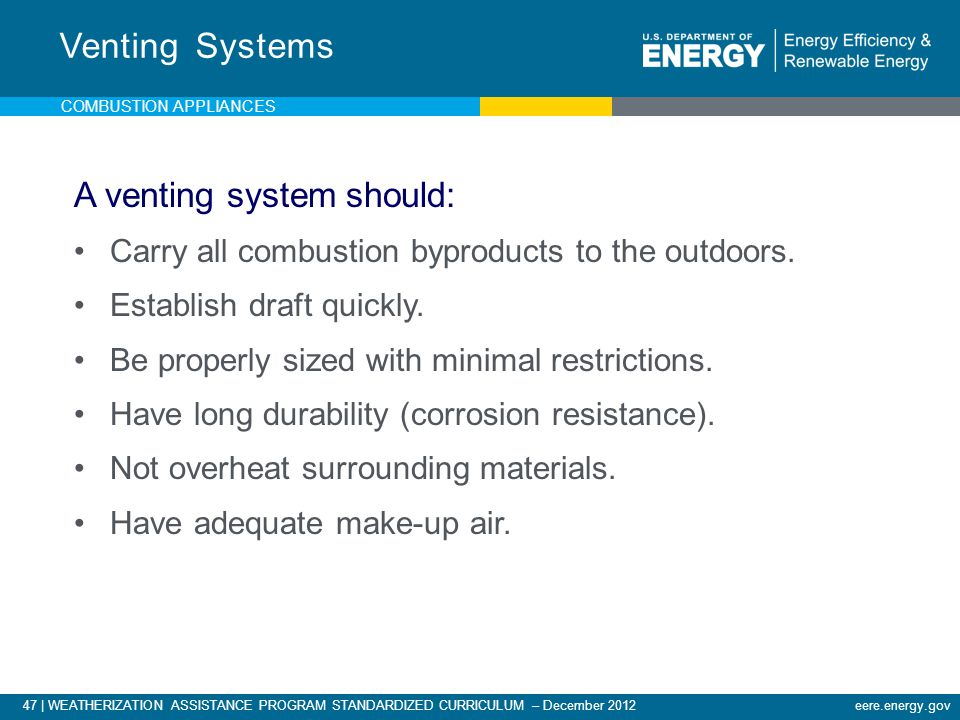 47 | WEATHERIZATION ASSISTANCE PROGRAM STANDARDIZED CURRICULUM – December 2012eere.energy.gov COMBUSTION APPLIANCES A venting system should: Carry all