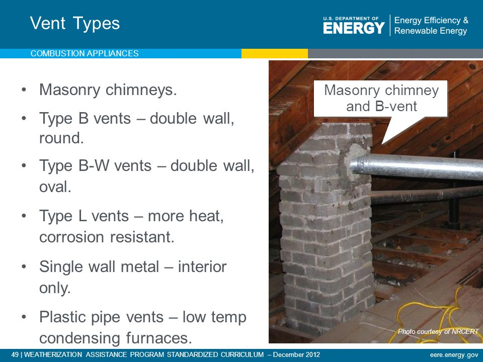 49 | WEATHERIZATION ASSISTANCE PROGRAM STANDARDIZED CURRICULUM – December 2012eere.energy.gov COMBUSTION APPLIANCES Masonry chimneys. Type B vents – d