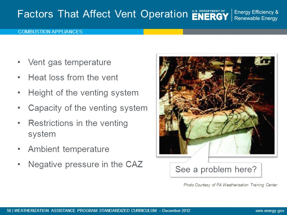 50 | WEATHERIZATION ASSISTANCE PROGRAM STANDARDIZED CURRICULUM – December 2012eere.energy.gov COMBUSTION APPLIANCES Vent gas temperature Heat loss fro