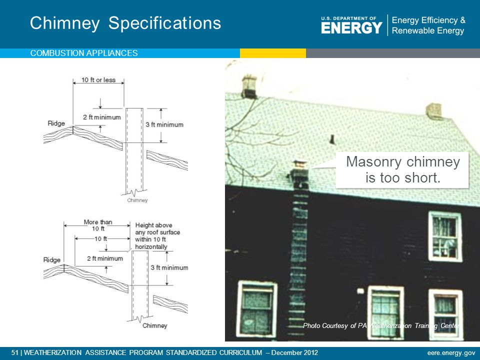 51 | WEATHERIZATION ASSISTANCE PROGRAM STANDARDIZED CURRICULUM – December 2012eere.energy.gov COMBUSTION APPLIANCES Chimney Specifications Masonry chi