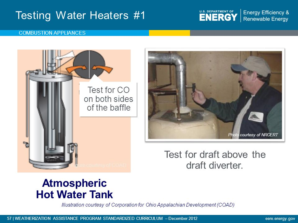 57 | WEATHERIZATION ASSISTANCE PROGRAM STANDARDIZED CURRICULUM – December 2012eere.energy.gov Testing Water Heaters #1 Atmospheric Hot Water Tank Test