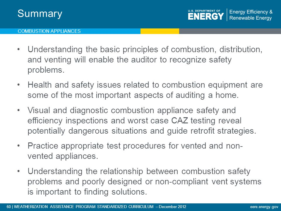 60 | WEATHERIZATION ASSISTANCE PROGRAM STANDARDIZED CURRICULUM – December 2012eere.energy.gov COMBUSTION APPLIANCES Understanding the basic principles