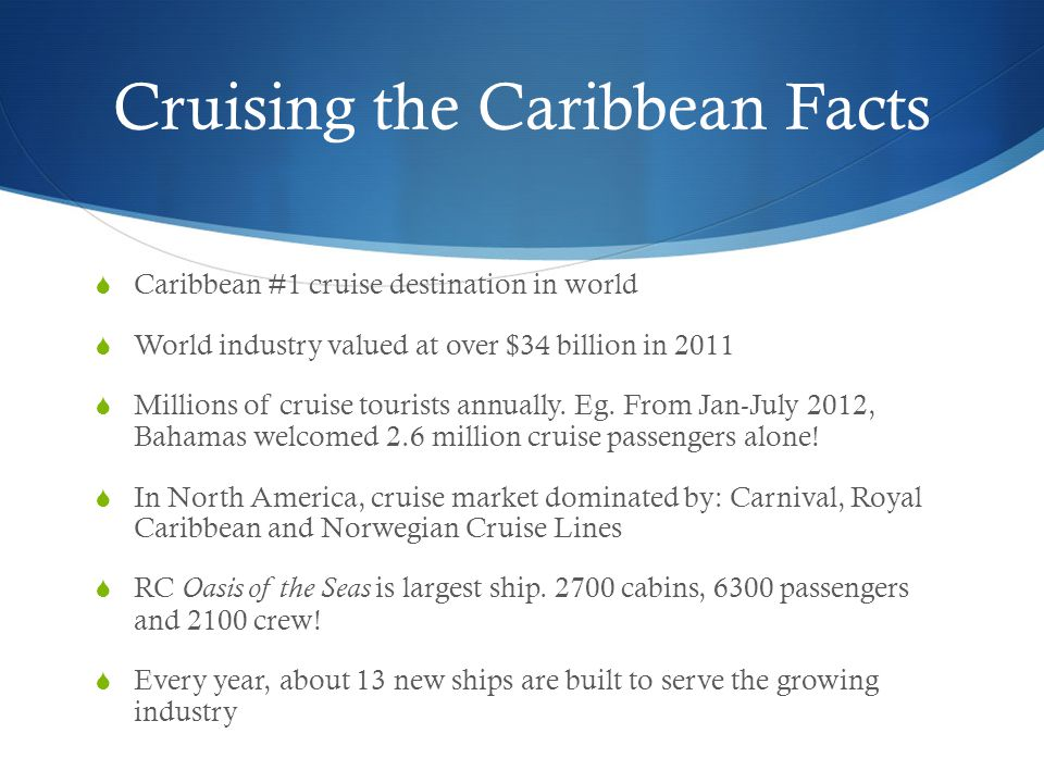 Cruising the Caribbean Facts  Caribbean #1 cruise destination in world  World industry valued at over $34 billion in 2011  Millions of cruise tourists annually.