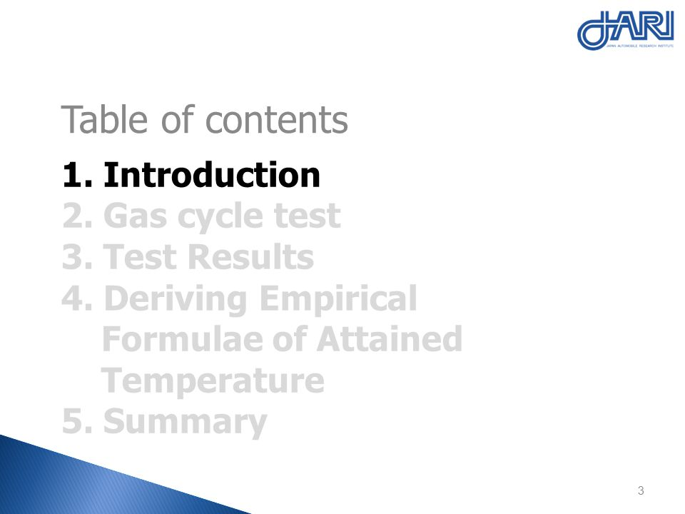 1.Introduction 2. Gas cycle test 3. Test Results 4.