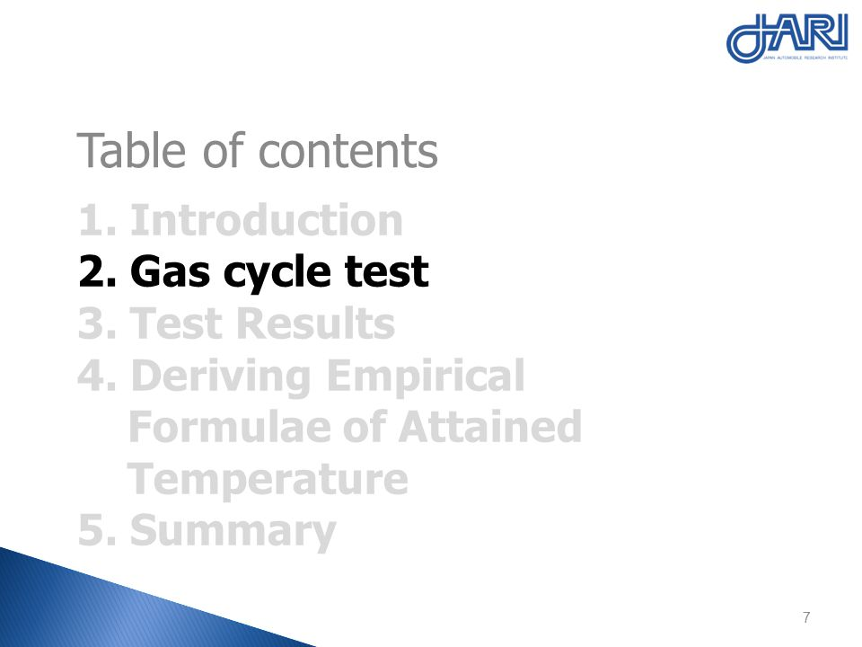 1. Introduction 2. Gas cycle test 3. Test Results 4.