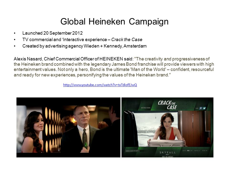 Global Heineken Campaign Launched 20 September 2012 TV commercial and 'Interactive experience – Crack the Case Created by advertising agency Wieden +