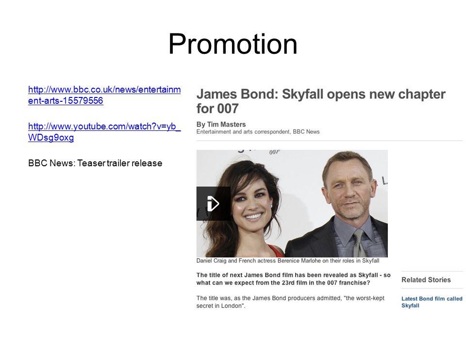 Promotion http://www.bbc.co.uk/news/entertainm ent-arts-15579556 http://www.youtube.com/watch?v=yb_ WDsg9oxg BBC News: Teaser trailer release