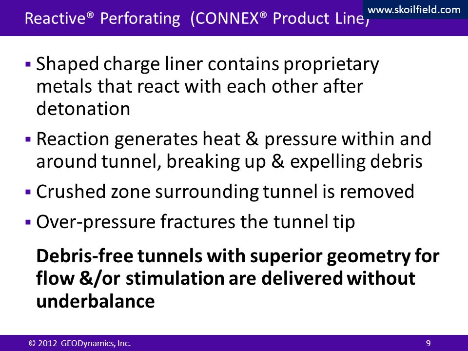 Confidential © 2012 GEODynamics, Inc. Confidential Reactive® Perforating (CONNEX® Product Line)  Shaped charge liner contains proprietary metals that