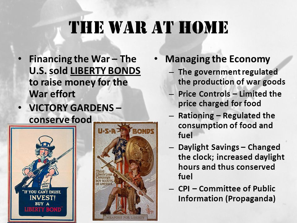 The War at Home Financing the War – The U.S.