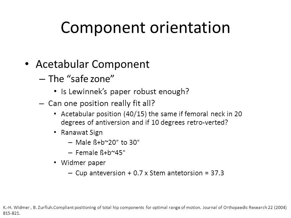 Component orientation Acetabular Component – The safe zone Is Lewinnek's paper robust enough.