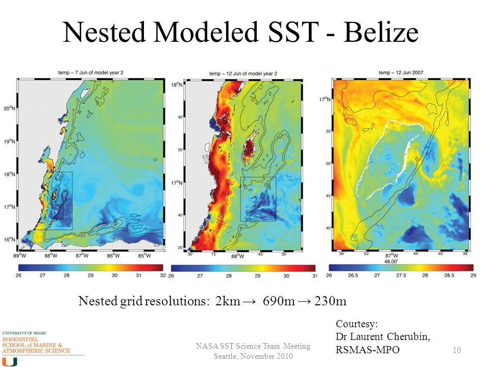 NASA SST Science Team Meeting Seattle, November 2010 Nested Modeled SST - Belize 10 Nested grid resolutions: 2km → 690m → 230m Courtesy: Dr Laurent Ch