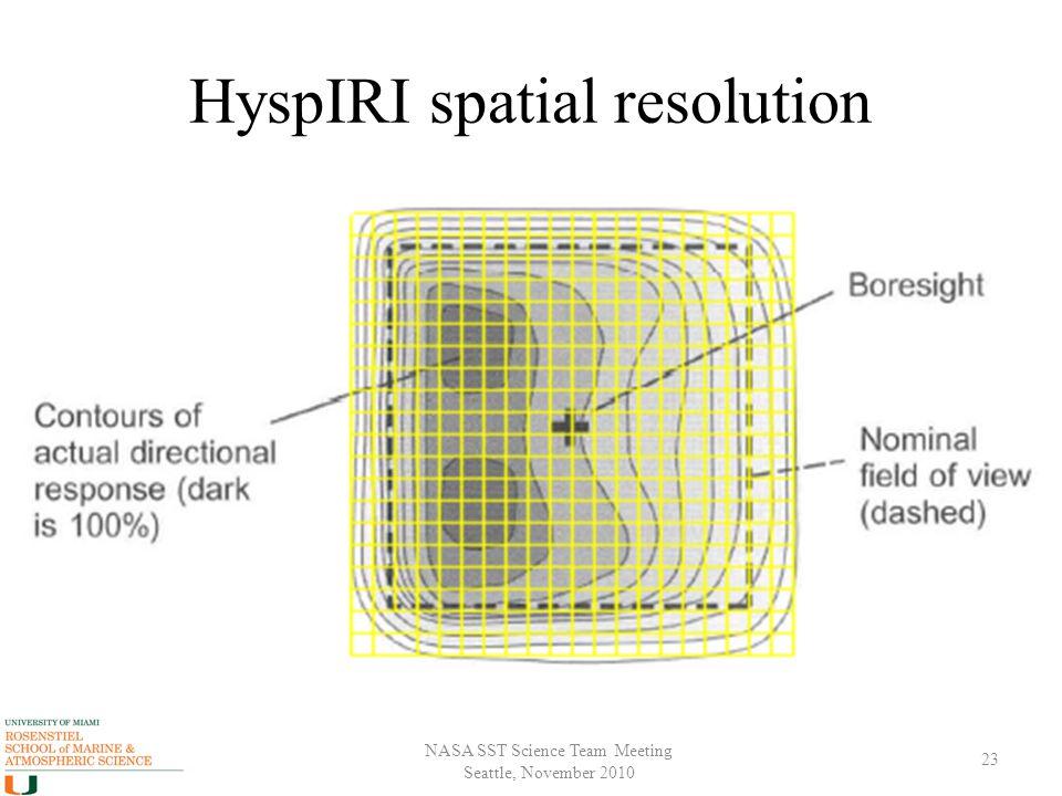 NASA SST Science Team Meeting Seattle, November 2010 HyspIRI spatial resolution 23