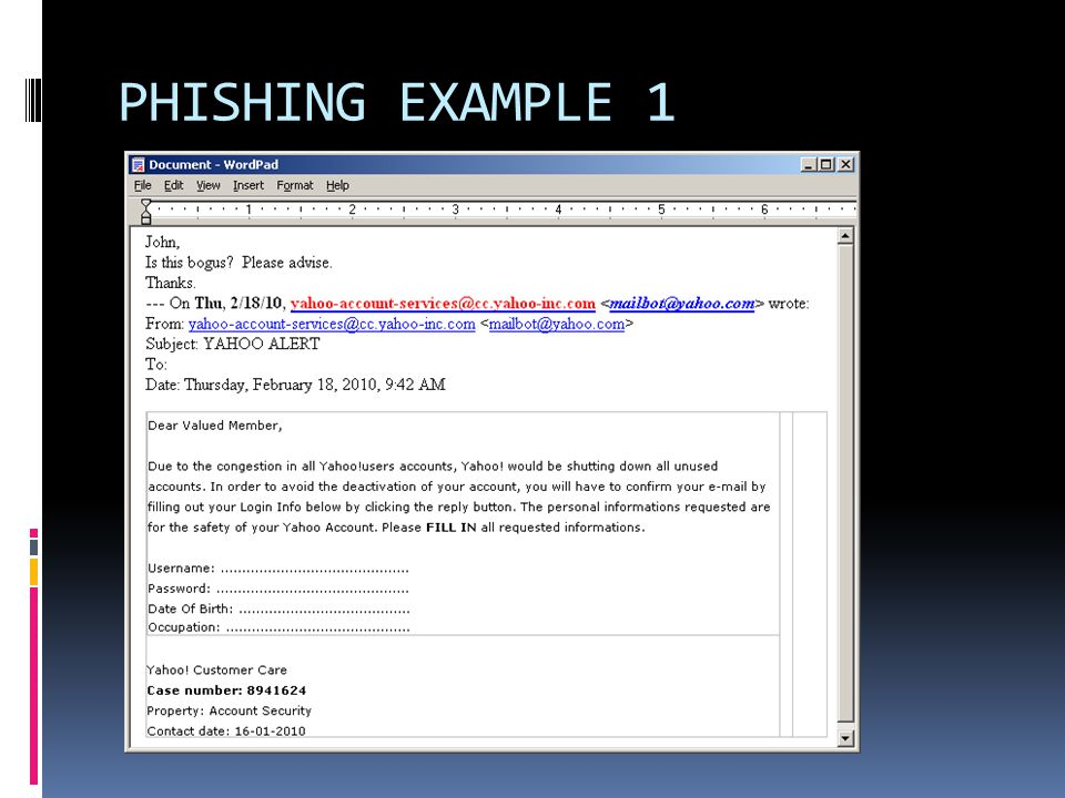 PHISHING EXAMPLE 1