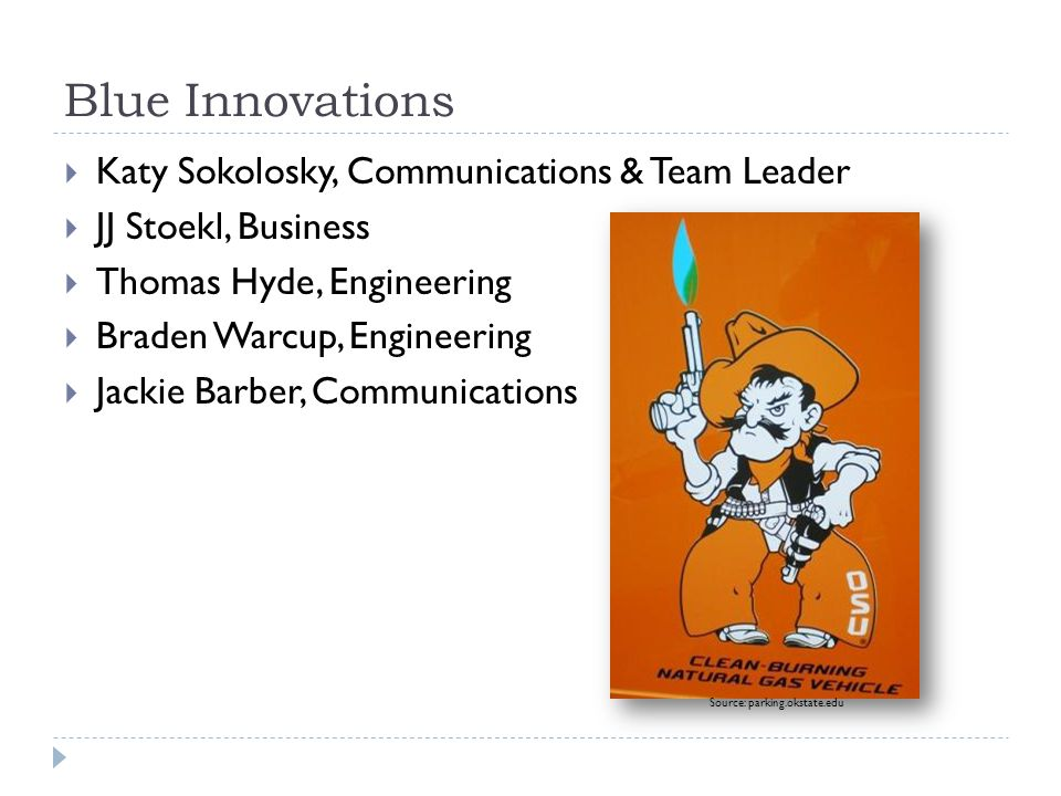 Blue Innovations  Katy Sokolosky, Communications & Team Leader  JJ Stoekl, Business  Thomas Hyde, Engineering  Braden Warcup, Engineering  Jackie Barber, Communications Source: parking.okstate.edu