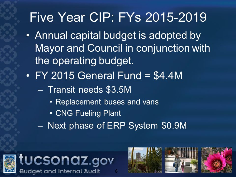 FY 2015 CIP Summary $2.0M Total; 12 projects 3 projects started in prior years will be completed in FY 2015: Purple Heart Park Expansion, Quincie Douglas and Silverlake Park Expansion, African Expansion for the Elephants After FY 2016, 3 projects remain: Shade structure projects, Valencia and Alvernon Community Park, Phase 1 and Valencia Corridor Land Acquisition, Phase 1 17