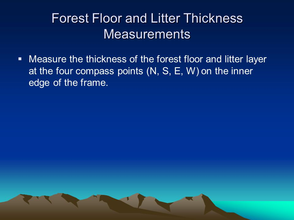 Forest Floor and Litter Thickness Measurements  Measure the thickness of the forest floor and litter layer at the four compass points (N, S, E, W) on the inner edge of the frame.