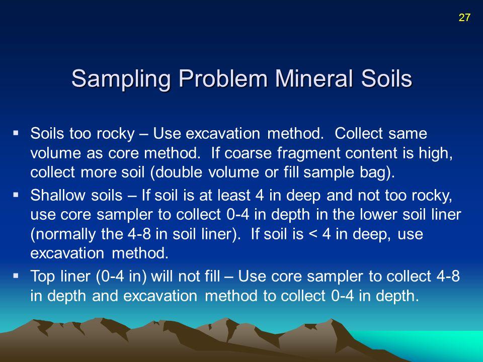 Sampling Problem Mineral Soils  Soils too rocky – Use excavation method.