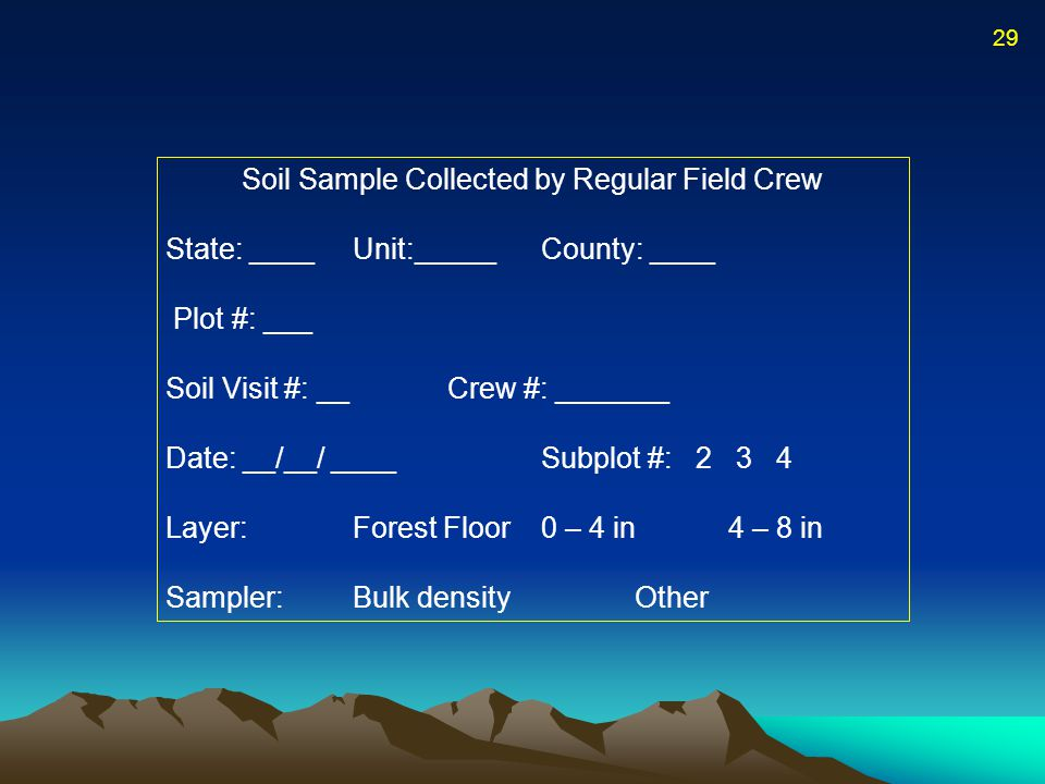 Soil Sample Collected by Regular Field Crew State: ____ Unit:_____County: ____ Plot #: ___ Soil Visit #: __Crew #: _______ Date: __/__/ ____Subplot #: 2 3 4 Layer:Forest Floor0 – 4 in4 – 8 in Sampler:Bulk densityOther 29