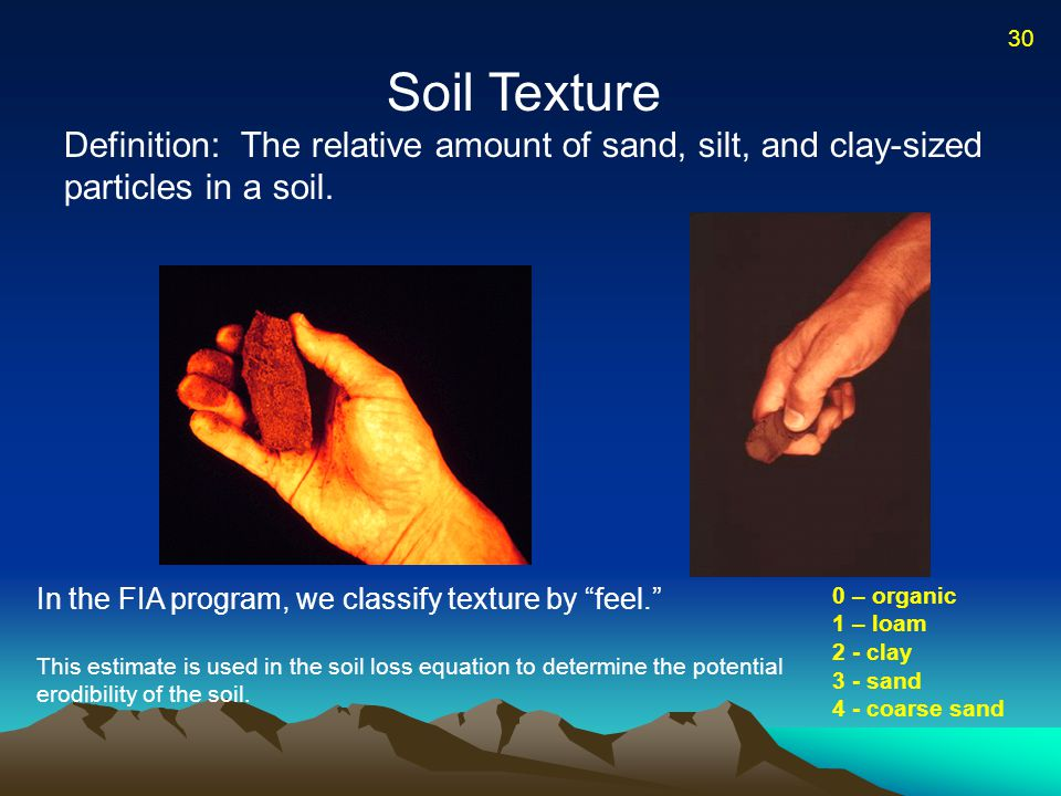 Soil Texture Definition: The relative amount of sand, silt, and clay-sized particles in a soil.