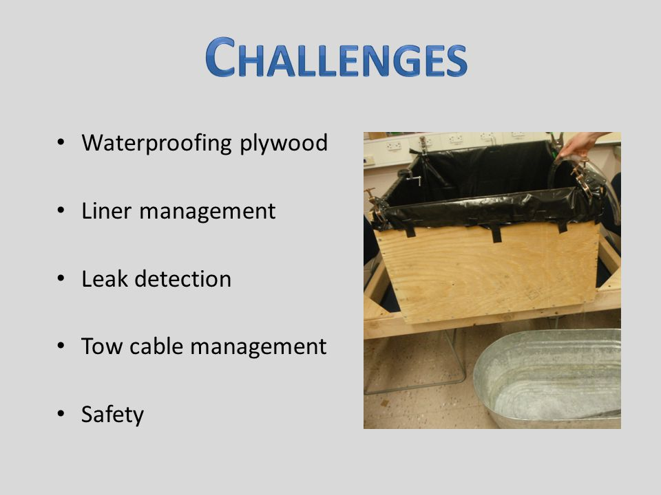 Waterproofing plywood Liner management Leak detection Tow cable management Safety