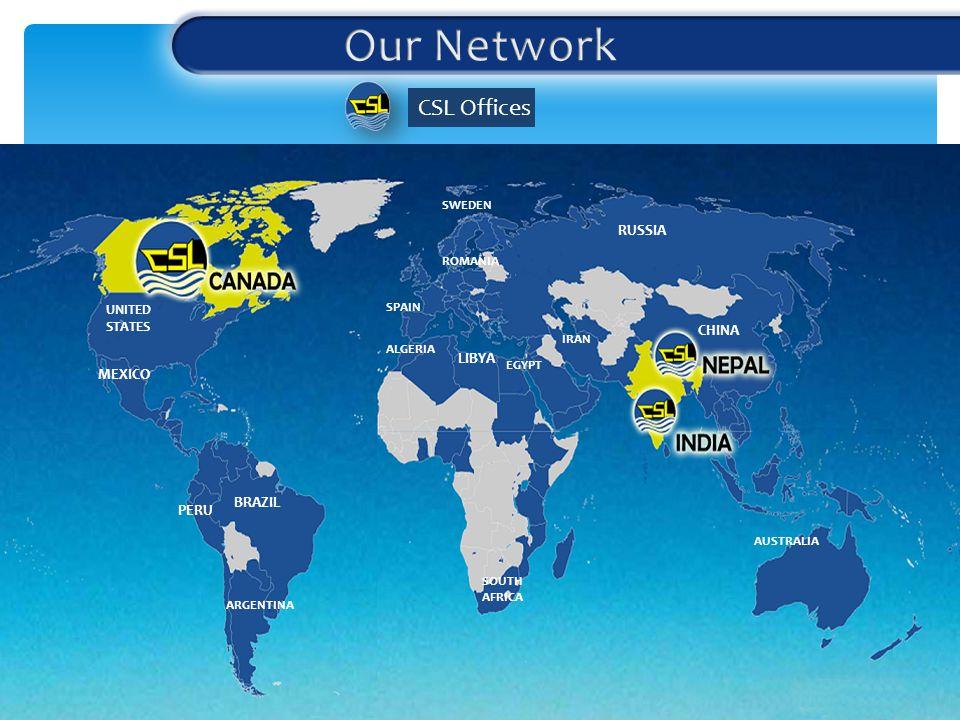 CSL Offices RUSSIA CHINA LIBYA UNITED STATES MEXICO BRAZIL ARGENTINA PERU AUSTRALIA SOUTH AFRICA ALGERIA EGYPT IRAN ROMANIA SPAIN SWEDEN
