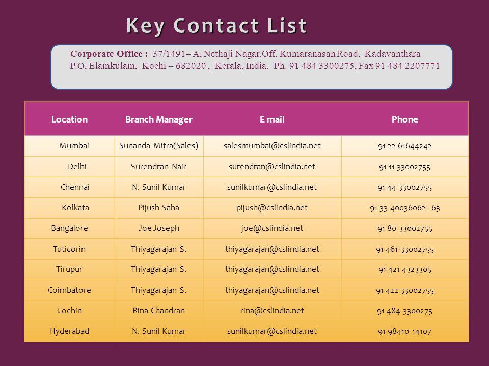 Key Contact List Key Contact List LocationBranch ManagerE mailPhone MumbaiSunanda Mitra(Sales)salesmumbai@cslindia.net91 22 61644242 DelhiSurendran Nairsurendran@cslindia.net91 11 33002755 ChennaiN.