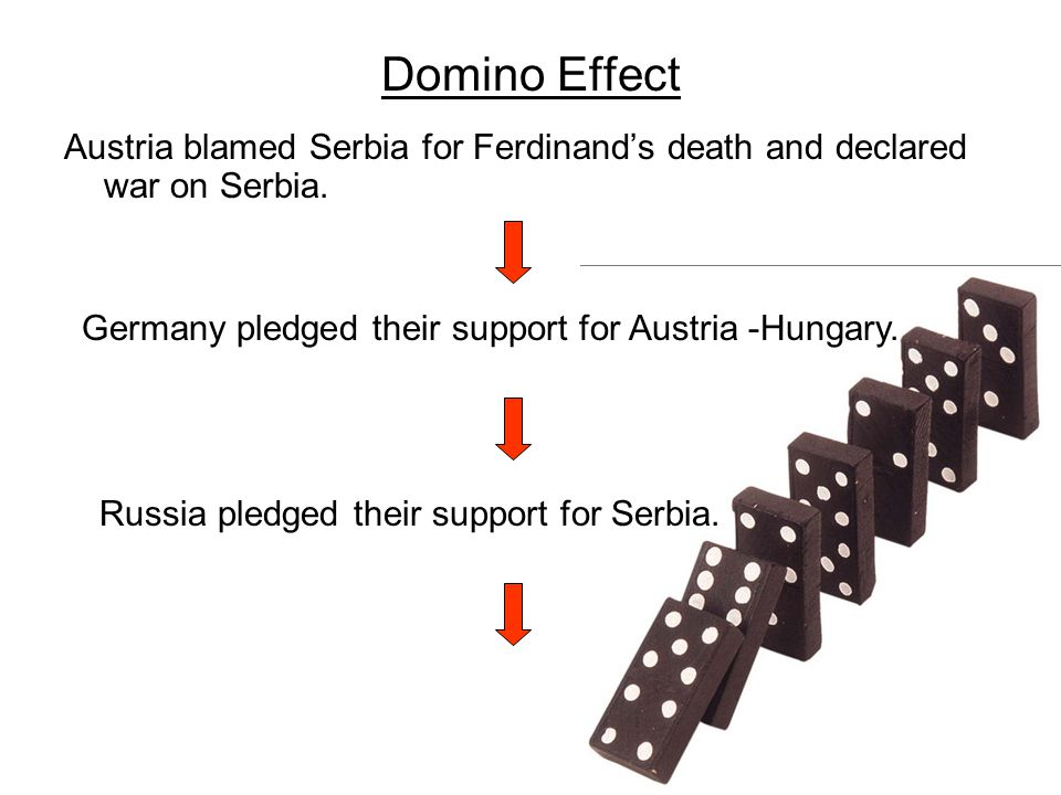 Domino Effect Austria blamed Serbia for Ferdinand's death and declared war on Serbia. Germany pledged their support for Austria -Hungary. Russia pledg