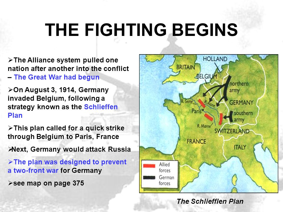 THE FIGHTING BEGINS  The Alliance system pulled one nation after another into the conflict – The Great War had begun  On August 3, 1914, Germany inv