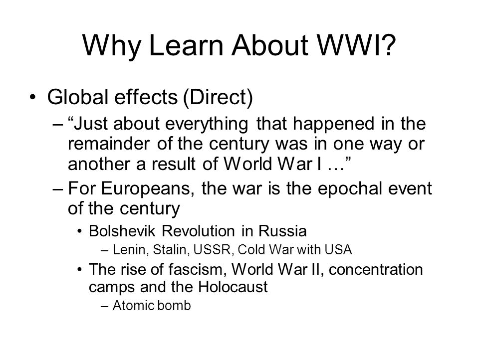 Review Answer in your notes Describe some ways in which WWI threatened the lives of civilians on both sides of the Atlantic.