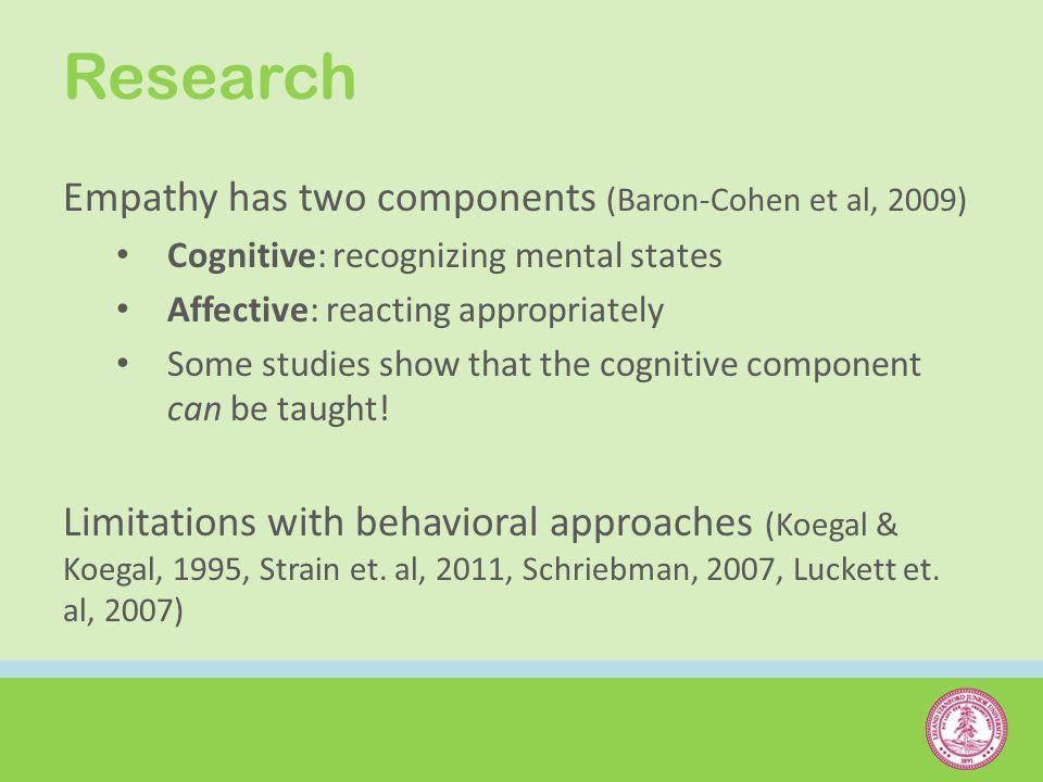 Research Empathy has two components (Baron-Cohen et al, 2009) Cognitive: recognizing mental states Affective: reacting appropriately Some studies show that the cognitive component can be taught.