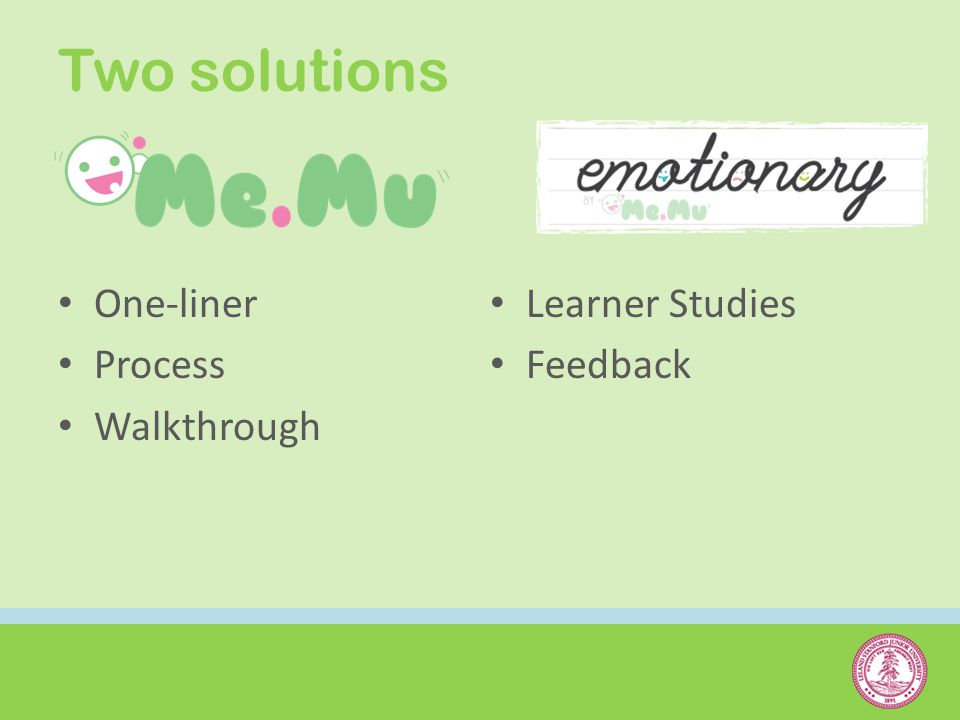 Two solutions One-liner Process Walkthrough Learner Studies Feedback