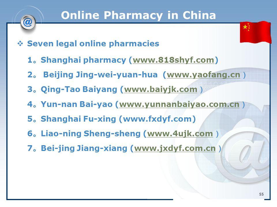 55 Online Pharmacy in China  Seven legal online pharmacies 1 。 Shanghai pharmacy (www.818shyf.com) 2 。 Beijing Jing-wei-yuan-hua (www.yaofang.cn ) 3
