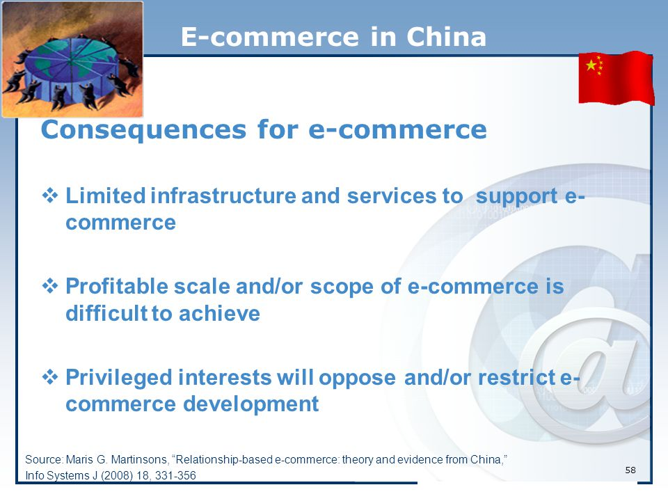 58 E-commerce in China Consequences for e-commerce  Limited infrastructure and services to support e- commerce  Profitable scale and/or scope of e-commerce is difficult to achieve  Privileged interests will oppose and/or restrict e- commerce development Source: Maris G.