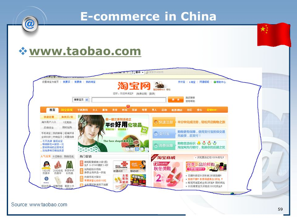 59 E-commerce in China  www.taobao.com www.taobao.com Source: www.taobao.com