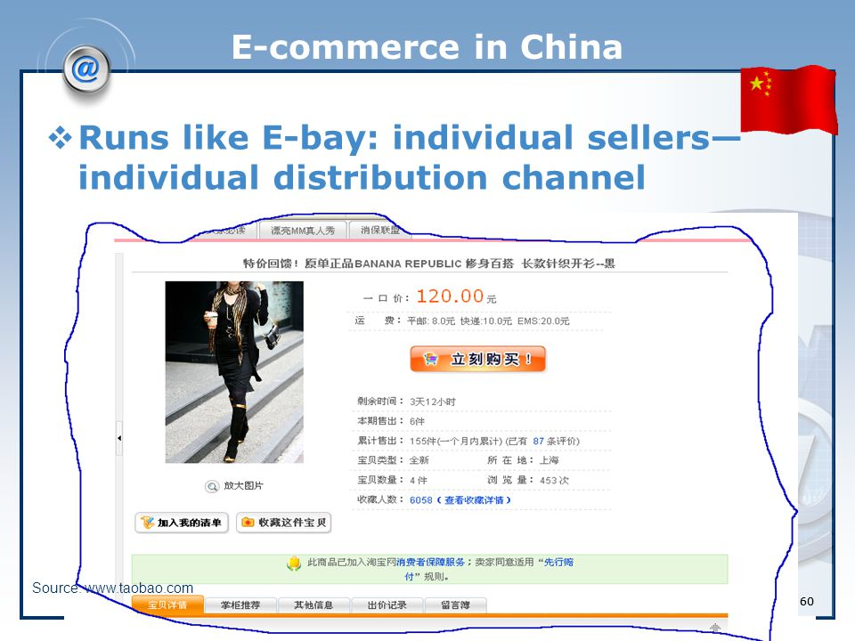 60 E-commerce in China  Runs like E-bay: individual sellers— individual distribution channel Source: www.taobao.com