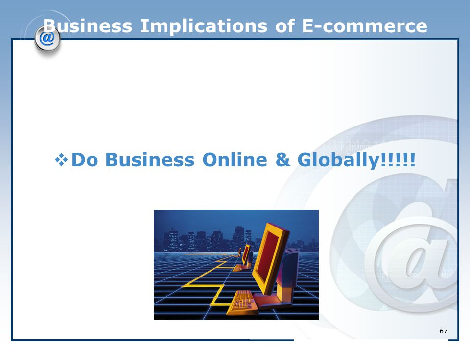 67 Business Implications of E-commerce  Do Business Online & Globally!!!!! 67