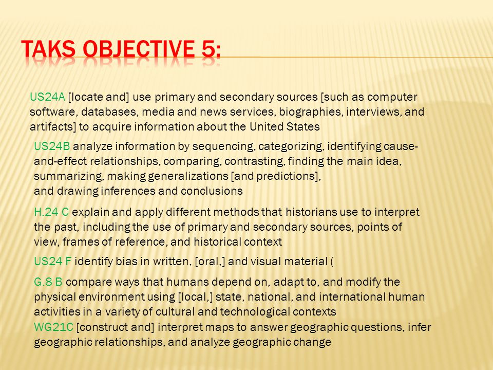 US24A [locate and] use primary and secondary sources [such as computer software, databases, media and news services, biographies, interviews, and arti