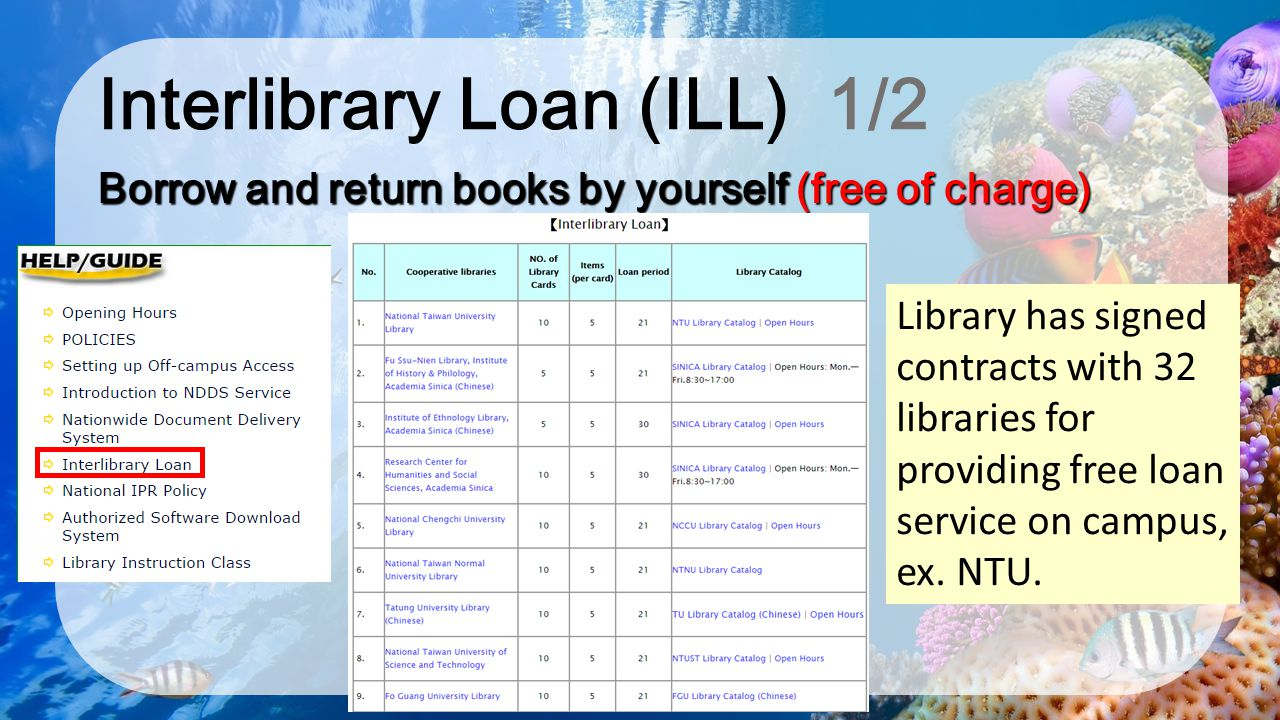 Interlibrary Loan (ILL) 1/2 Borrow and return books by yourself (free of charge) Library has signed contracts with 32 libraries for providing free loa