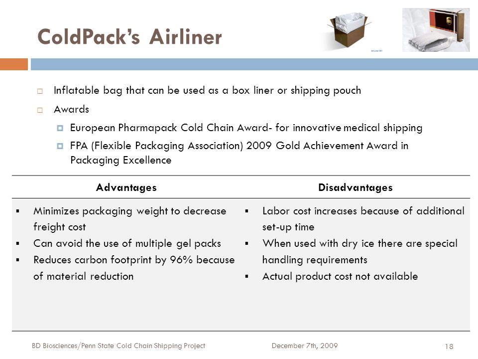 ColdPack's Airliner December 7th, 2009BD Biosciences/Penn State Cold Chain Shipping Project 18  Inflatable bag that can be used as a box liner or shipping pouch  Awards  European Pharmapack Cold Chain Award- for innovative medical shipping  FPA (Flexible Packaging Association) 2009 Gold Achievement Award in Packaging Excellence AdvantagesDisadvantages  Minimizes packaging weight to decrease freight cost  Can avoid the use of multiple gel packs  Reduces carbon footprint by 96% because of material reduction  Labor cost increases because of additional set-up time  When used with dry ice there are special handling requirements  Actual product cost not available
