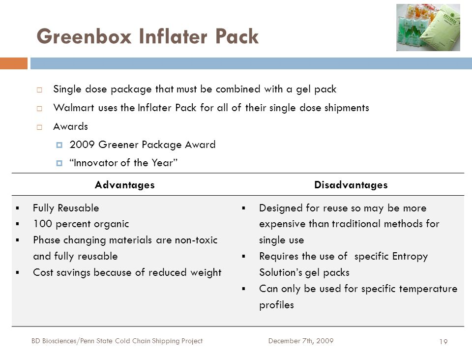 Greenbox Inflater Pack December 7th, 2009BD Biosciences/Penn State Cold Chain Shipping Project 19  Single dose package that must be combined with a gel pack  Walmart uses the Inflater Pack for all of their single dose shipments  Awards  2009 Greener Package Award  Innovator of the Year AdvantagesDisadvantages  Fully Reusable  100 percent organic  Phase changing materials are non-toxic and fully reusable  Cost savings because of reduced weight  Designed for reuse so may be more expensive than traditional methods for single use  Requires the use of specific Entropy Solution's gel packs  Can only be used for specific temperature profiles