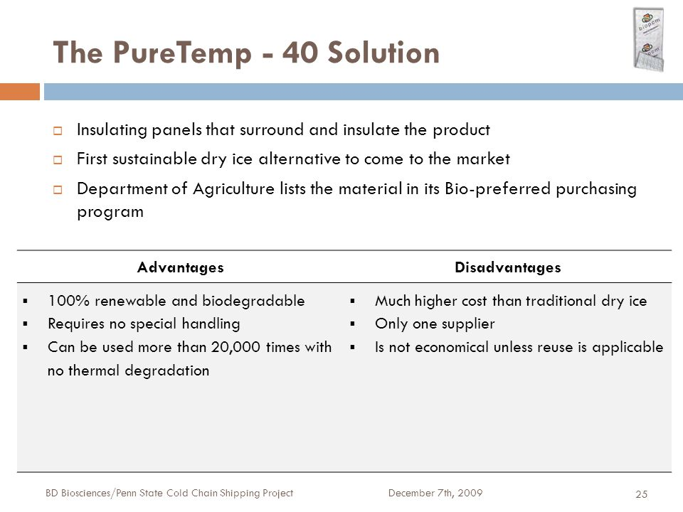The PureTemp - 40 Solution December 7th, 2009BD Biosciences/Penn State Cold Chain Shipping Project 25  Insulating panels that surround and insulate the product  First sustainable dry ice alternative to come to the market  Department of Agriculture lists the material in its Bio-preferred purchasing program AdvantagesDisadvantages  100% renewable and biodegradable  Requires no special handling  Can be used more than 20,000 times with no thermal degradation  Much higher cost than traditional dry ice  Only one supplier  Is not economical unless reuse is applicable